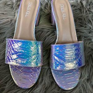 Dollskill holographic kitten heels shoes